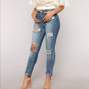 Denim - Medium wash boyfriend jeans